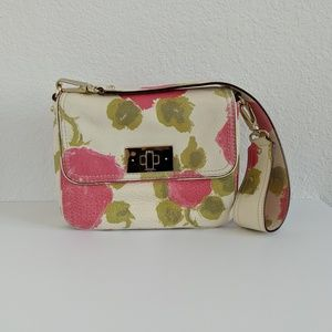 NEW Vintage Kate Spade Floral Leather Shoulder Bag